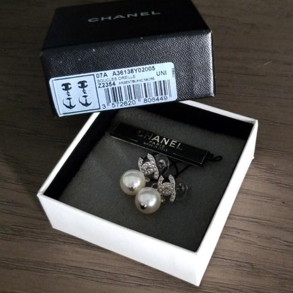 72112e5b5 CHANEL BNIB CC Crystal Earrings w/Pearl Drop. M_5c5deb39c2e9fed2faca9287